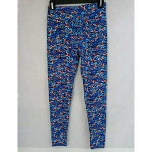New LuLaRoe One Size Leggings Blue With Clouds & Airplanes Design